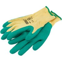 Green Heavy Duty Latex Coated Work Gloves - LARGE