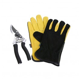 Premium Leather & Suede Glove and Secateur Set - Black