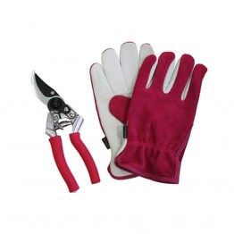 Premium Leather & Suede Glove and Secateur Set - Raspberry